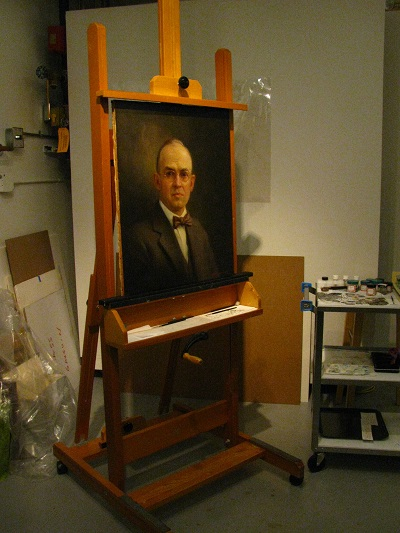 Judge Sanborn on easel