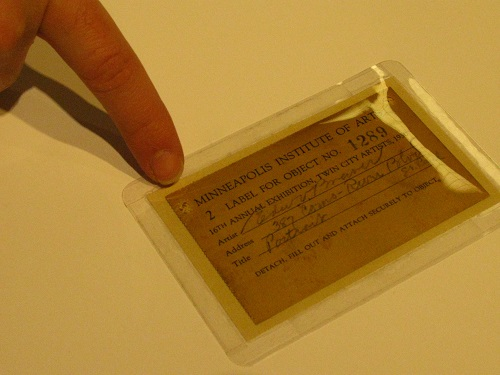 Entry tag from 1930 Art Institute exhibition
