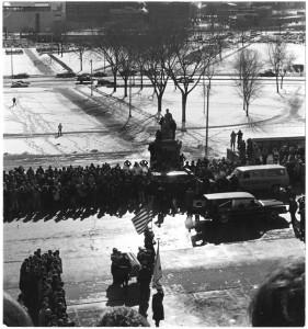 Casket leaving Minnesota State Capitol