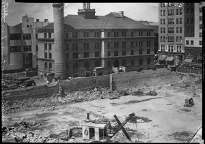 The very beginnings of the courthouse! (Courtesy of the MN Historical Society)