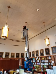 Using scissor lift in the law library